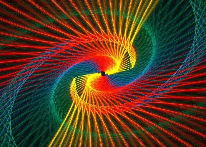 Abstract Greeting Card featuring the digital art Spiral Rainbow by Kim French