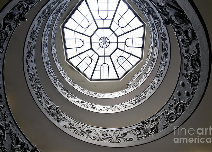 Worth Greeting Card featuring the photograph Spiral Staircase In The Vatican Museums by Bernard Jaubert