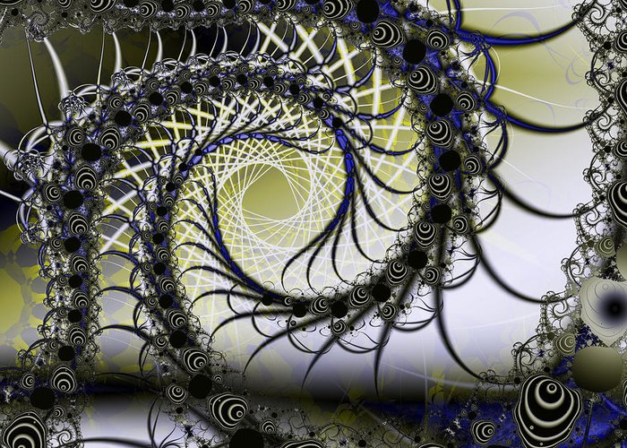 Fractal Greeting Card featuring the digital art Spiral Web by Frederic Durville