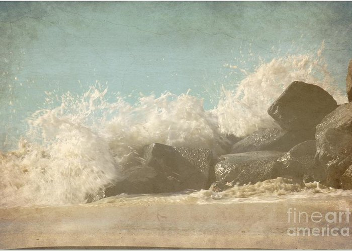Textured Greeting Card featuring the photograph Splashing Wave by Sophie Vigneault