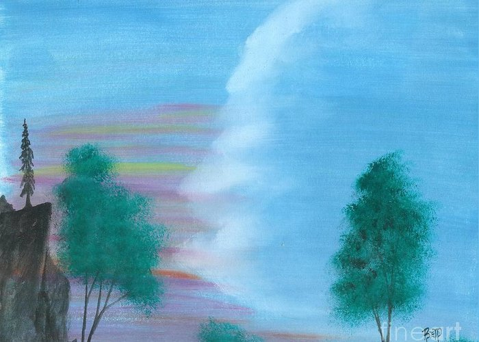 Landscape Greeting Card featuring the painting Split Sky by Robert Meszaros