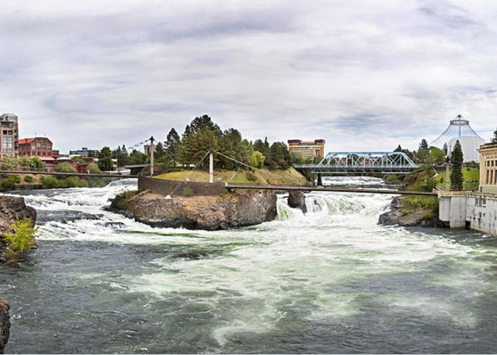 Scenic Greeting Card featuring the photograph Spokane Falls From The Lincoln Street Bridge by Lee Santa