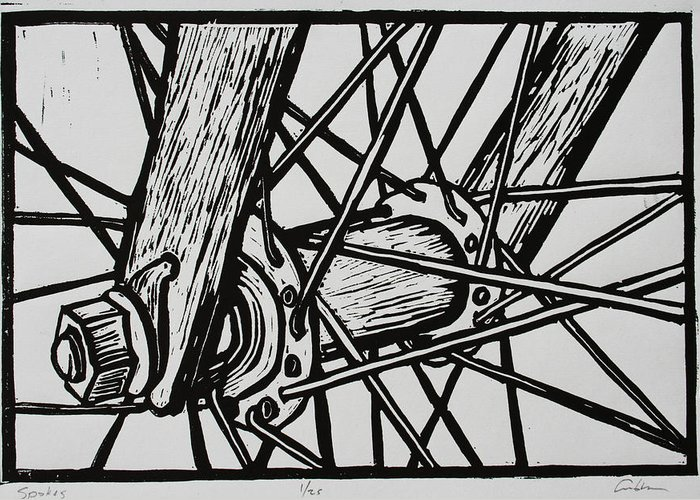 Spokes Greeting Card featuring the drawing Spokes by William Cauthern