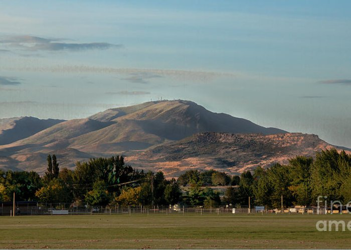 Sport Complex. Squaw Butte Greeting Card featuring the photograph Sport Complex And The Butte by Robert Bales