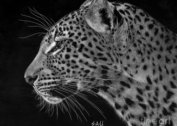 Leopard Greeting Card featuring the drawing Spotted Solitude by Sheryl Unwin