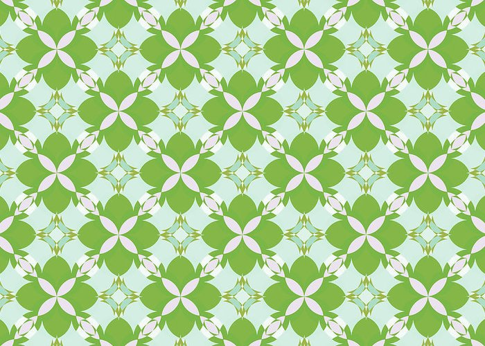 Retro Patterns Greeting Card featuring the digital art Spring Avunclover by JaNell Golden