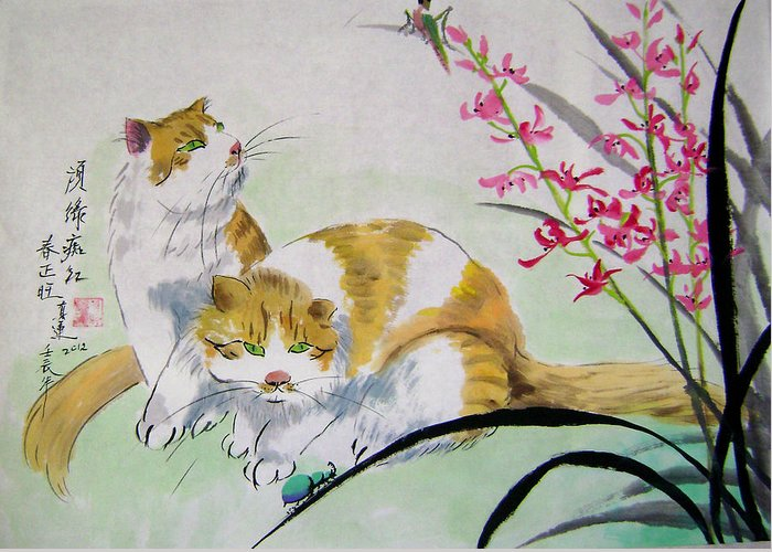Animals Greeting Card featuring the painting Spring fever by Lian Zhen