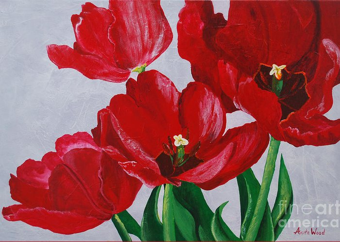 Tulips Greeting Card featuring the painting Spring Flirt by Anita Wood