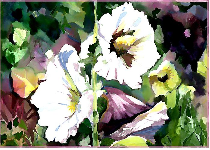 Holly Hocks Greeting Card featuring the painting Spring Holly by Mindy Newman
