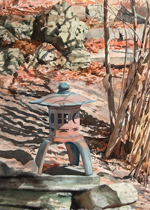 Greeting Card featuring the painting Spring Shadows by Peter Sit