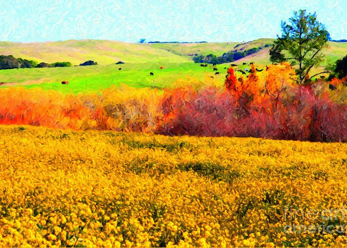 Landscape Greeting Card featuring the photograph Springtime In The Golden Hills . 7d12402 by Wingsdomain Art and Photography