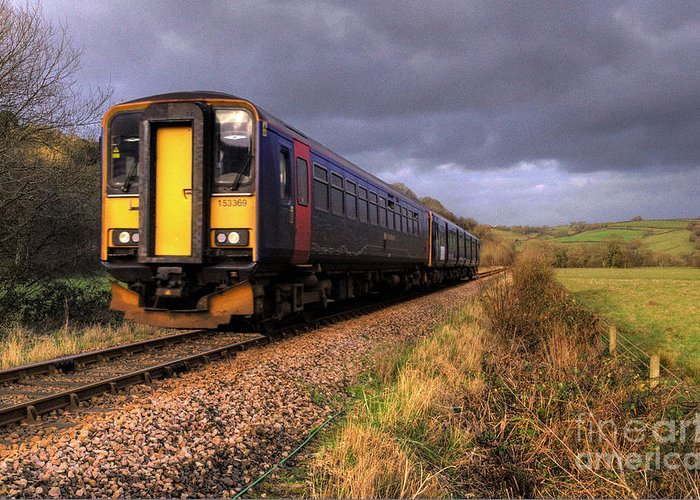 Train Greeting Card featuring the photograph Sprinters At Scoop by Rob Hawkins