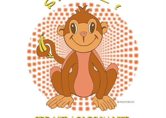 Spunky Greeting Card featuring the digital art Spunky The Monkey by John Keaton
