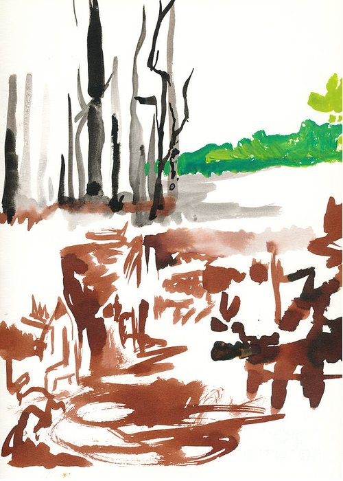 Pond Greeting Card featuring the painting Squantz Pond by Vannucci Fine Art