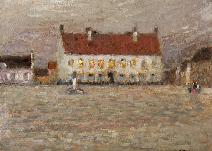A Place; Gravelines; North France; Nord-pas-de-calais; Nord Pas De Calais; Huile Sur Panneau;landscape; Post-impressionist; Neo-impressionist; Impressionist; House; Red; View; Study; Architecture; French; France Greeting Card featuring the painting Square - Fort-philippe by Henri Eugene Augustin Le Sidaner