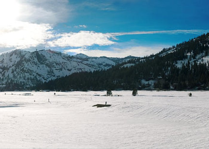Greeting Card featuring the photograph Squaw Valley Panoramic by Adam Blankenship