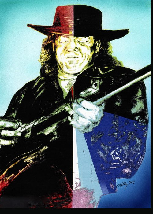 Stevie Ray Vaughn Portrait Greeting Card featuring the drawing SRV by Kathleen Kelly Thompson