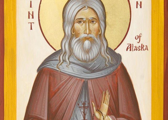 St Herman Of Alaska Greeting Card featuring the painting St Herman Of Alaska by Julia Bridget Hayes