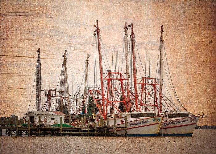 Florida Greeting Card featuring the photograph St John's Shrimping by Debra and Dave Vanderlaan