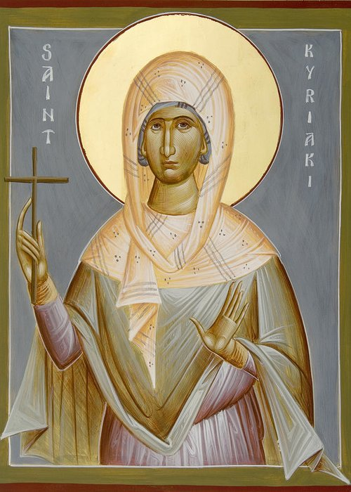 St Kyriaki Greeting Card featuring the painting St Kyriaki by Julia Bridget Hayes