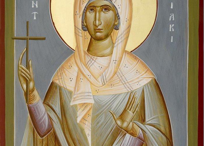 St Kyriaki Greeting Card featuring the painting St Kyriaki by Julia Bridget Hayes