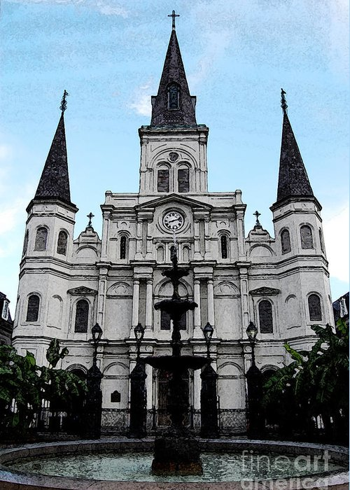 Travelpixpro New Orleans Greeting Card featuring the digital art St Louis Cathedral And Fountain Jackson Square French Quarter New Orleans Fresco Digital Art by Shawn O'Brien