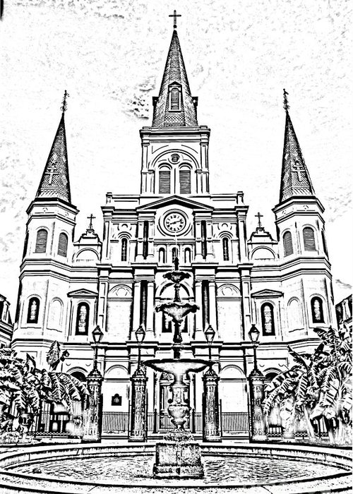 Travelpixpro New Orleans Greeting Card featuring the digital art St Louis Cathedral And Fountain Jackson Square French Quarter New Orleans Photocopy Digital Art by Shawn O'Brien