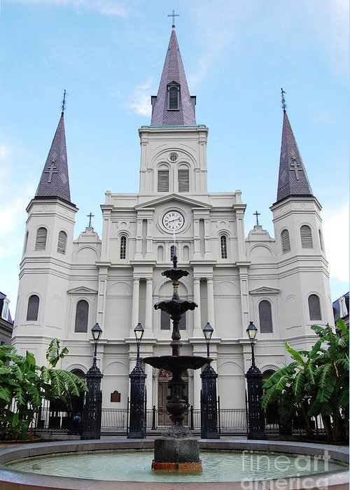 Travelpixpro New Orleans Greeting Card featuring the photograph St Louis Cathedral And Fountain Jackson Square French Quarter New Orleans by Shawn O'Brien