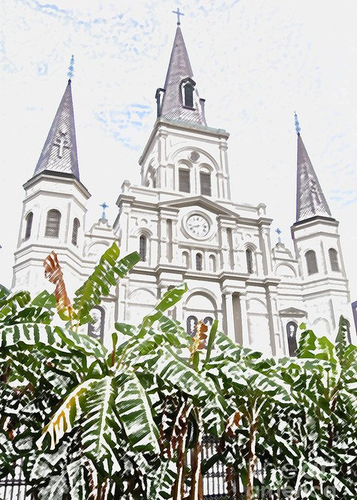 Travelpixpro New Orleans Greeting Card featuring the digital art St Louis Cathedral Rising Above Palms Jackson Square New Orleans Colored Pencil Digital Art by Shawn O'Brien