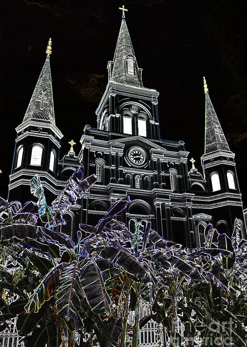 Travelpixpro New Orleans Greeting Card featuring the digital art St Louis Cathedral Rising Above Palms Jackson Square New Orleans Glowing Edges Digital Art by Shawn O'Brien