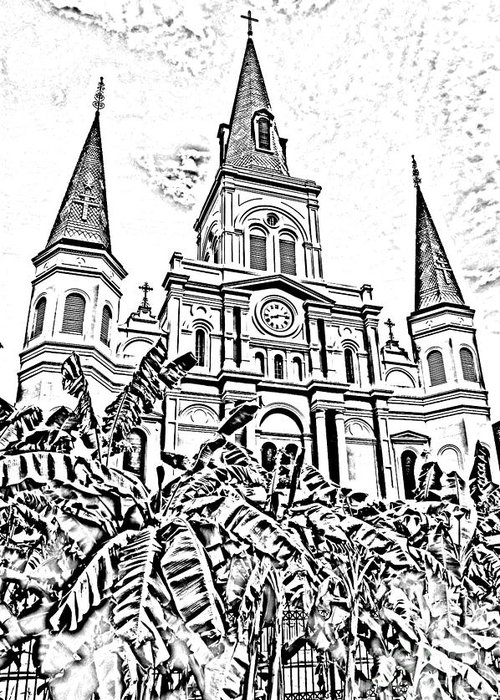Travelpixpro New Orleans Greeting Card featuring the digital art St Louis Cathedral Rising Above Palms Jackson Square New Orleans Photocopy Digital Art by Shawn O'Brien
