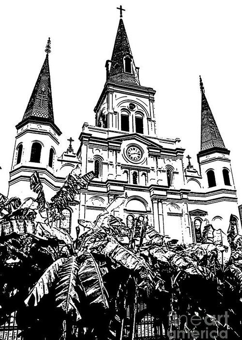 Travelpixpro New Orleans Greeting Card featuring the digital art St Louis Cathedral Rising Above Palms Jackson Square New Orleans Stamp Digital Art by Shawn O'Brien