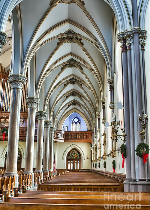 Greeting Card featuring the photograph St Louis Church 15 by Chuck Alaimo