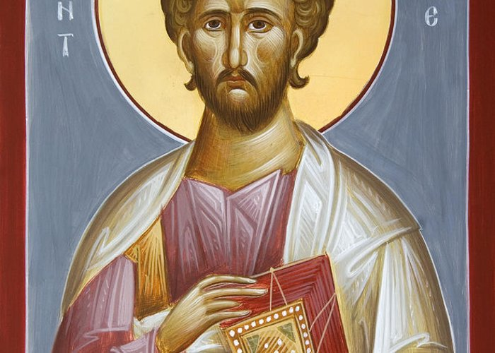Saint Luke The Evangelist Greeting Card featuring the painting St Luke The Evangelist by Julia Bridget Hayes
