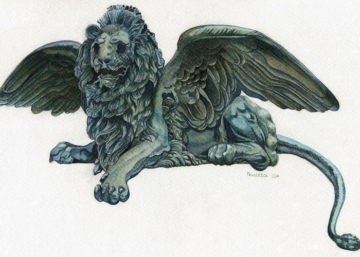 Venice Greeting Card featuring the painting St. Mark's Lion by Francesca Zambon