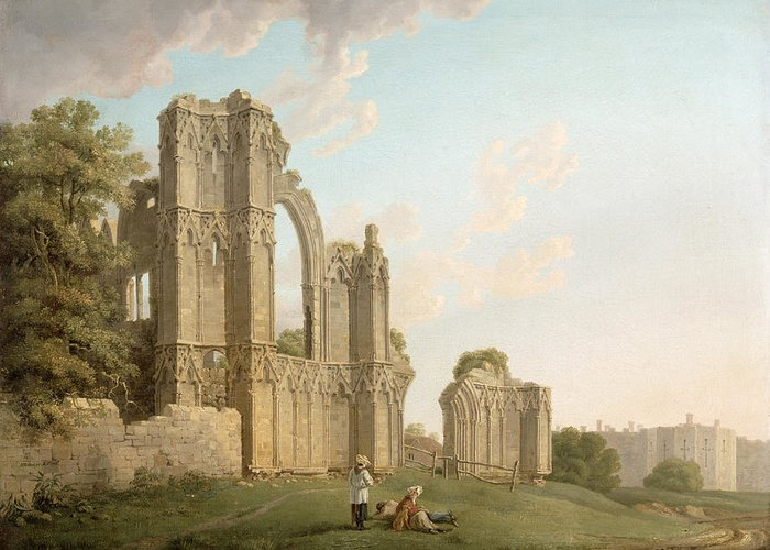 Mary Greeting Card featuring the painting St Mary's Abbey -york by Michael Rooker