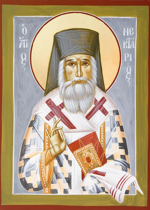 Saint Nektarios Of Aigina Greeting Card featuring the painting St Nektarios by Julia Bridget Hayes