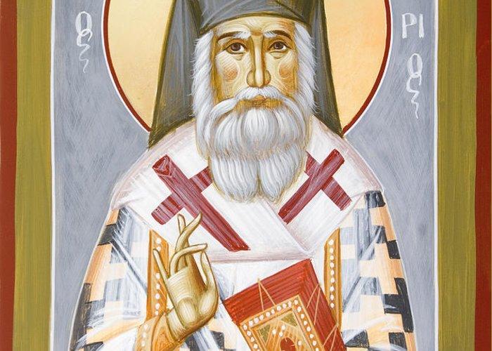 Saint Nektarios Of Aigina Greeting Card featuring the painting St Nektarios by Julia Bridget Hayes