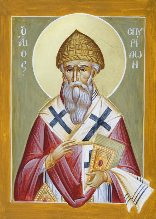 St Spyridon Greeting Card featuring the painting St Spyridon by Julia Bridget Hayes