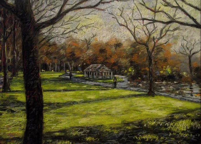 Landscape Greeting Card featuring the pastel St. Stephen's Green Dublin by John Nolan