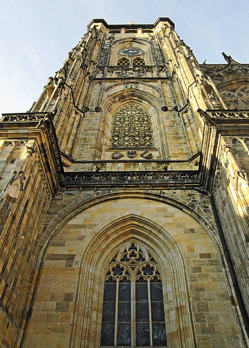 Vitus Greeting Card featuring the photograph St Vitus Cathedral Prague - The Realms Of 'non-being' by Christine Till