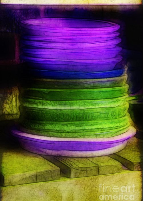 Purple Greeting Card featuring the photograph Stack Of Saucers by Judi Bagwell