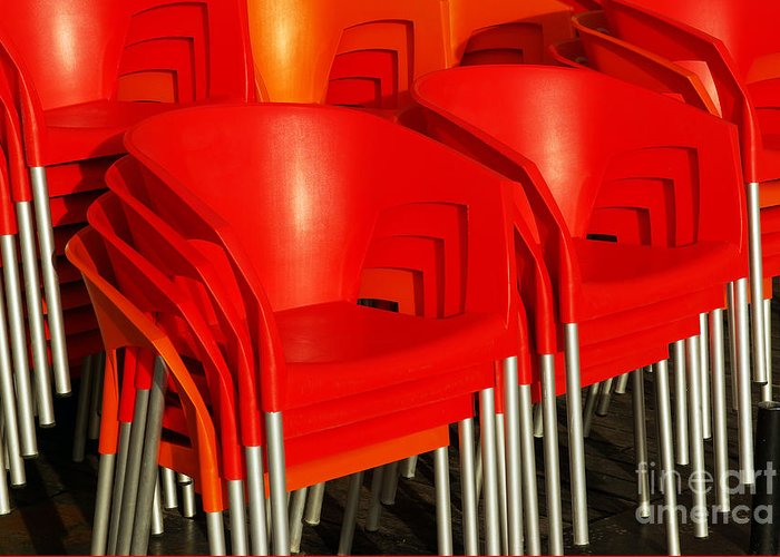 Bar Greeting Card featuring the photograph Stacked Chairs by Carlos Caetano