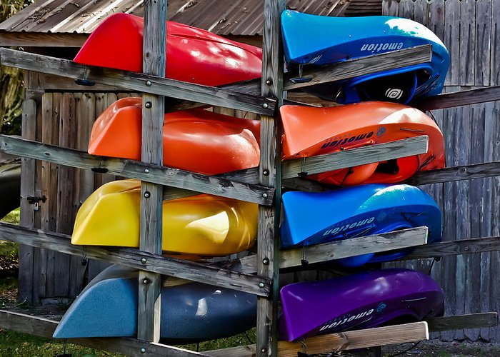 Kayaks Greeting Card featuring the photograph Stacked Emotions by DigiArt Diaries by Vicky B Fuller