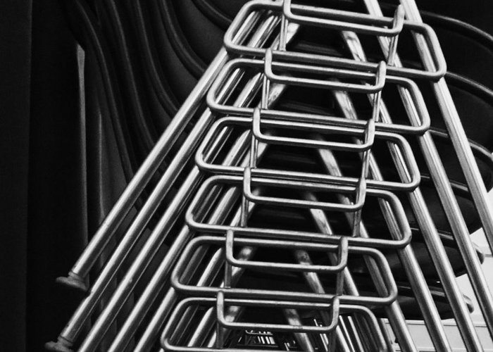Abstract Greeting Card featuring the photograph Stacks Of Chairs by Anna Villarreal Garbis