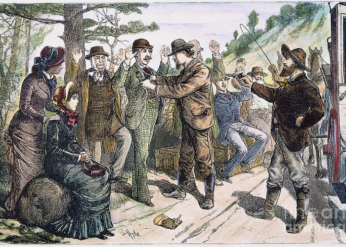 1880s Greeting Card featuring the photograph Stagecoach Robbery, 1880s by Granger