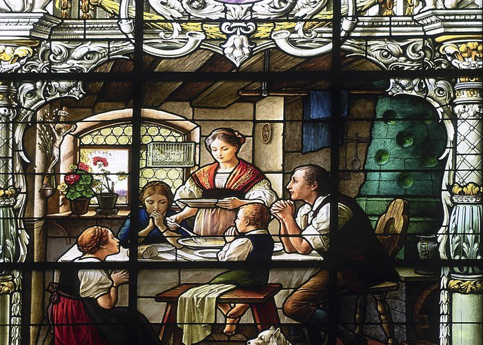 Stained Glass Window Greeting Card featuring the photograph Stained Glass Family Giving Thanks by Sally Weigand