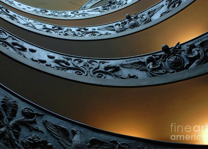 Italy Greeting Card featuring the photograph Staircase At The Vatican by Bob Christopher