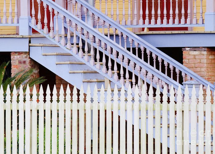 Architectural Detail Greeting Card featuring the photograph Stairs And White Picket Fence by Jeremy Woodhouse