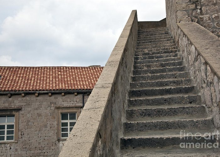 Dubrovnik Greeting Card featuring the photograph Stairway In Dubrovnik by Madeline Ellis